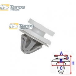 CLIP FOR UPHOLSTERIES PACKING UNIT: 10 PCS DIMENSIONS ( A 12.4 B 9.3 C 15 D 2.2 H 14.7 ,Ø 8 ) MM FOR RENAULT CLIO 2001.7-2005.8