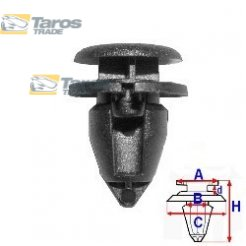 CLIP FOR UPHOLSTERIES PACKING UNIT: 10 PCS DIMENSIONS ( A 14 B 8 C 11 D 3 H 21 ) MM FOR RENAULT CLIO 2001.7-2005.8