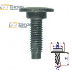 FIXING SCREW FOR BUMPERS PACKING UNIT: 5 PCS DIMENSIONS ( A 18.1 B 5.3 C 5.8 H 23 ) MM FOR LANCIA YPSILON 2004.1-2011.6