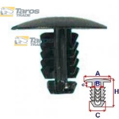 CLIP FOR BONNET PACKING UNIT: 10 PCS DIMENSIONS ( A 20.4 B 6.5 C 7.4 H 16.1 ,Ø 6.5 ) MM FOR LANCIA YPSILON 2004.1-2011.6