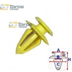 CLIP FOR SEATS PACKING UNIT: 10 PCS DIMENSIONS ( A 13.1 B 8.1 C 17.4 D 3 H 21 ) MM FOR AUDI A3 1996-2003