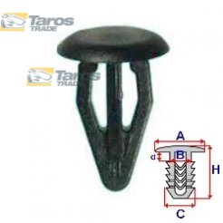 CLIP FOR THE TAILGATE PACKING UNIT: 10 PCS DIMENSIONS ( A 13.6 B 7 C 9.9 H 19.6 ,Ø 9 ) MM FOR AUDI 100 C3 1982-1990