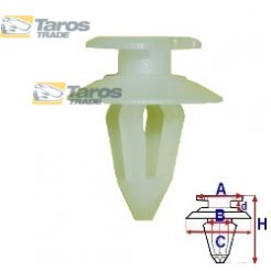 CLIP FOR THE TAILGATE PACKING UNIT: 10 PCS DIMENSIONS ( A 13.5 B 7.8 C 17.9 D 2.6 H 21 ,Ø 8 ) MM FOR AUDI 100 C3 1982-1990