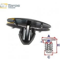 CLIP FOR BONNET PACKING UNIT: 10 PCS DIMENSIONS ( A 25 B 6.5 C 9.2 D 2.6 H 14.4 ,Ø 7.5 ) MM FOR LEXUS GS 2005-2012