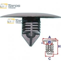 CLIP FOR INNER FENDERS PACKING UNIT: 10 PCS DIMENSIONS ( A 36 B 9.5 C 11.5 H 25 ,Ø 11 ) MM FOR RENAULT CLIO 2001.7-2005.8