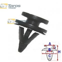 CLIP FOR UPHOLSTERIES PACKING UNIT: 10 PCS DIMENSIONS ( A 12.5 B 7.6 C 14.9 D H 18.8 ,Ø 7.5 ) MM FOR RENAULT CLIO 2001.7-2005.8