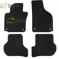 CARPET FLOOR MATS PETEX REX FABRIC BLACK 4 PCS WITH OVAL HOLES FOR VOLKSWAGEN JETTA 2005-
